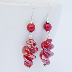 Red Glass Twist Earrings