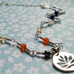 Sterling Silver Lotus Flower and Seven-Chakra Gemstone Necklace