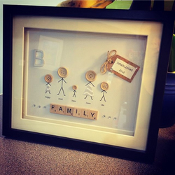 Scrabble Letter Frame, Stickman People, Button Frame, Personalised Family