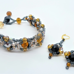 Golden Amber Bracelet & Earring Jewellery Set ,Gift for her