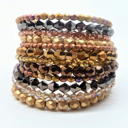 Gold & Bronze Tone Multi Wrap Layered Stacked Cuff Bracelet