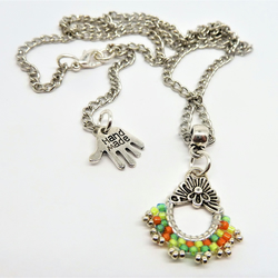Zesty Hand Stitched Pendant with Chain