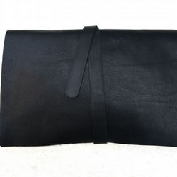 Kuki Noir, minimalist clutch folio in luxe hand stitched leather