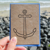 Anchor ahoy! mini greetings card in black or white