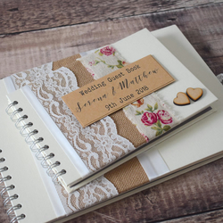 Hessian Rose Wedding Guest Book Handmade with Wooden Hearts