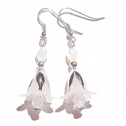 Vintage Style Lucite Flower Earrings - White