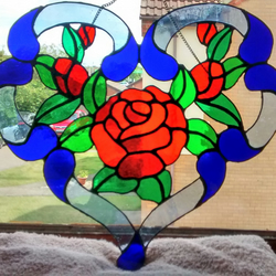 Love Heart Red Roses stained glass suncatcher. 25% Charity Donation