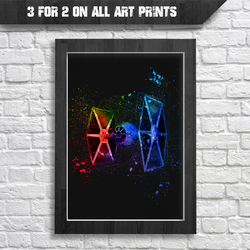 TIE Fighter Digital Watercolour Splash Painting - A4 Prints - Star Wars print