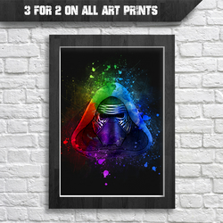 Kylo Ren Helmet Digital Watercolour Splash Painting, A4 Art Prints, Star Wars