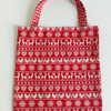 Xmas gift bag, red, Scandi design, gifts, 100% cotton bag, Christmas gift bag