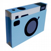 Retro Camera 3D Greetings Card in Blue
