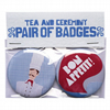 'I Don't Speak French - Henri' Set Of Two Badges