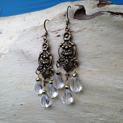 Art Nouveau Floral Chandelier Earrings