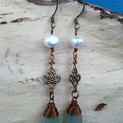 Vintage Inspired Aventurine & Pearl Flower Dangle Earrings