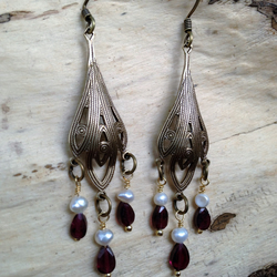 Art Deco Garnet & Pearl Chandelier Earrings
