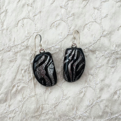 Zebra pattern silver and black fused glass drop earrings