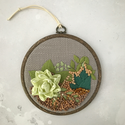 Embroidered paper succulent garden IV