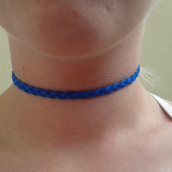choker blue suede plait necklace