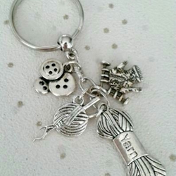 sale knitting keyring knit bag charm personalise with intials sewing hobby craft
