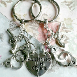 partners in crime keyring split share pair gun handcuffs best friends