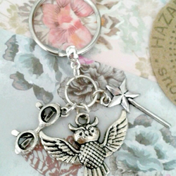 Harry potter keyring bag charm hedwig wand glasses gifts