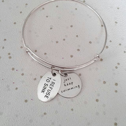 I refuse to sink bangle just keep swimming charm bracelet awareness