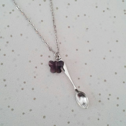 SALE spoon necklace purple butterfly spoonie gifts awareness jewellery crystal