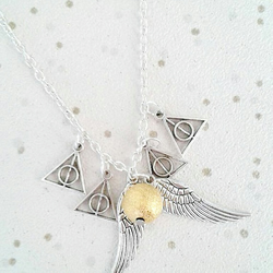 Golden snitch inspired necklace charm gifts Harry potter jewellery