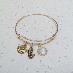 Gold mermaid bracelet charm bangle mermaid scales gifts