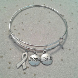 sale Awareness charm bracelet bangle hope ribbon faith silver spoonie