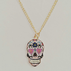 sale Sugar skull necklace Mexican gold skull gifts for her enamel