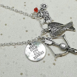 Walking dead charm necklace inspired keep calm kill zombie