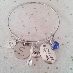Sale Awareness bangle CHOOSE colour charm bracelet to sink just keep swimming