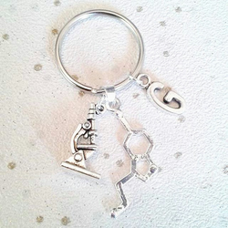 Serotonin molecule keyring microscope chemical science with initial