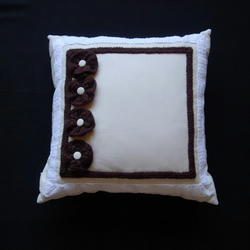 Cream Cushion with handmade vintage brown crochet flower decoration