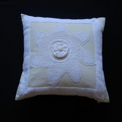 Cream Cushion with handmade vintage ivory crochet trim