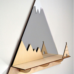 Decorative 'Tee-pee'' Mountain Peaks Mirror with shelf