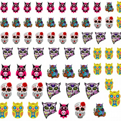 Sugar Skull Owl  Nail Decals