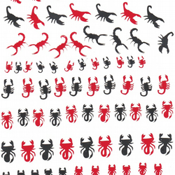 Scorpion( black and  Red ) Press on Nail Stickers