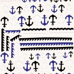 Anchor ( black  Blue and White ) Press on Nail Stickers