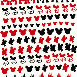 Disney Kingdom Castle Mickey  ( ReD  and black ) Press on Nail Stickers