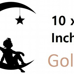 Angel On A Moon ( Gold   ) Vinyl Stickers