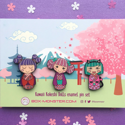 Cute Kokeshi Dolls Enamel Pin Set