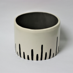 SALE Ceramic monochrome stripe pot