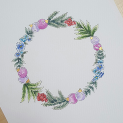'Baubles and Berries' Christmas Wreath, Festive Painted Illustration