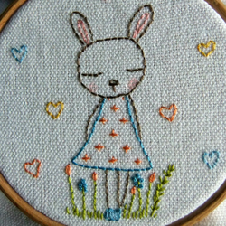 bunny embroidered hoop art
