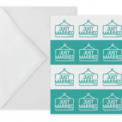 Wedding Card With Just Married Illustrations On Teal Stripes