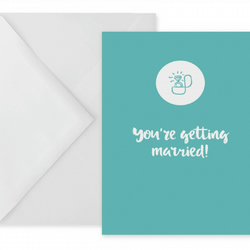 Engagement Card With Engagement Ring Illustration On A Teal Background
