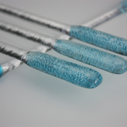 Blue copper fused glass swizzle sticks, cocktail stirrers with blue bubbles