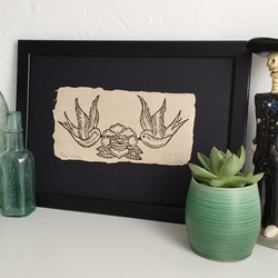 Art print, Lino print, linocut, tattoo art, hand printed, handmade, swallows